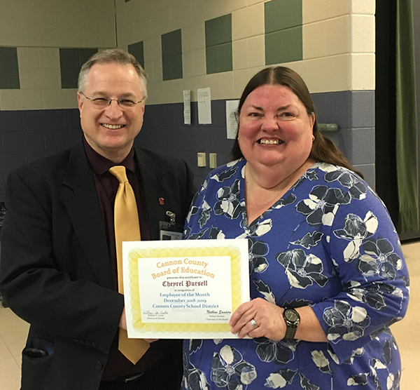Pursell recognized as January 2019 School Employee of the Month