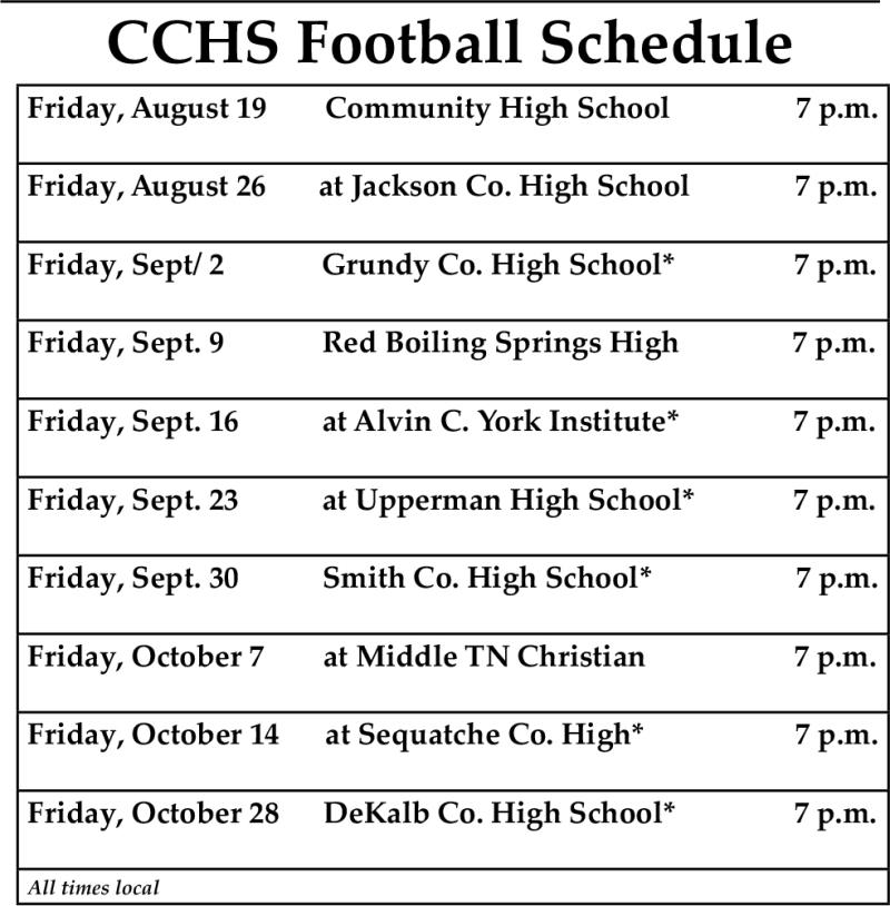 CCHS Football Schedule