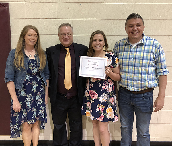 Underwood awarded Mrs. Annie Cox Memorial Scholarship