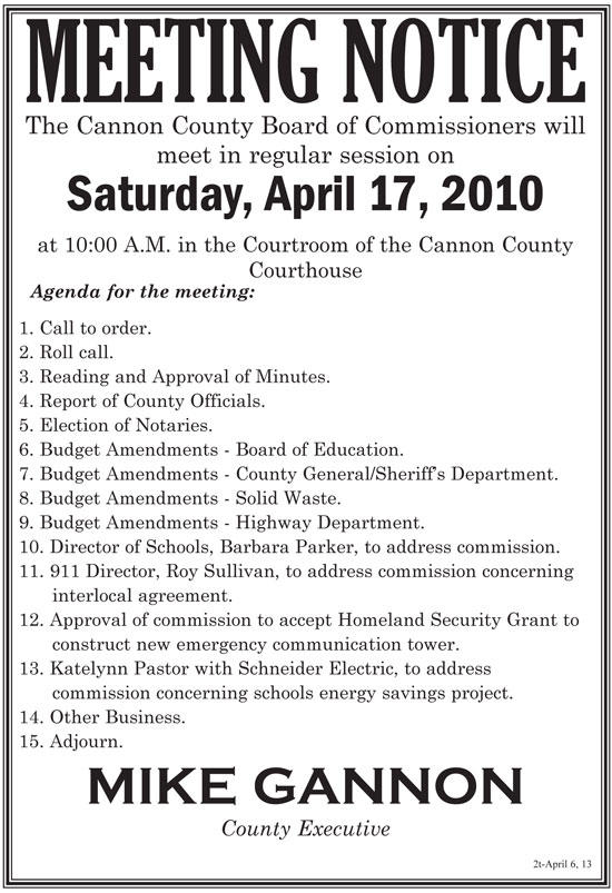 Cannon County Commission Meeting April 17