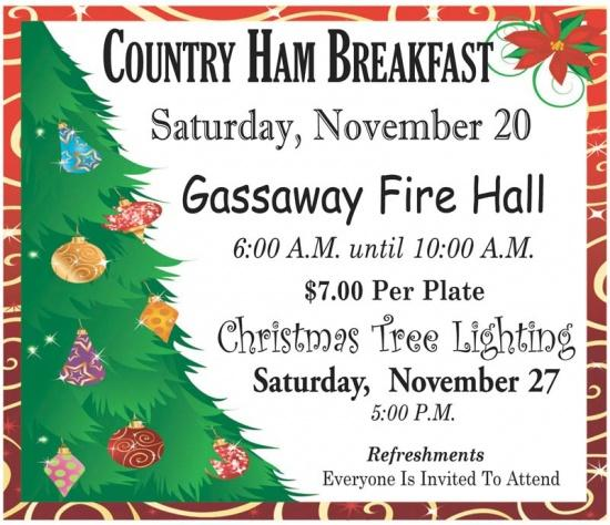 County Ham Breakfast Nov. 20 At Gassaway Fire Hall