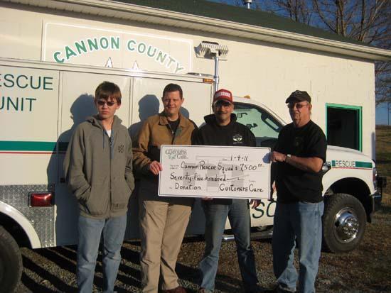 MTE Customers Care Donates $7,500 To Cannon County Rescue Squad