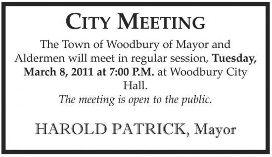 Woodbury Board Of Mayor And Aldermen Meeting March 8