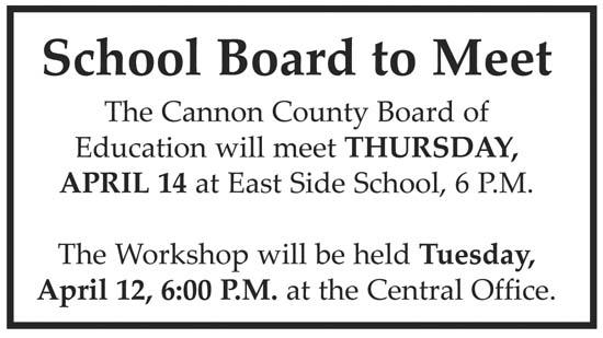 School Board Meeting Thursday