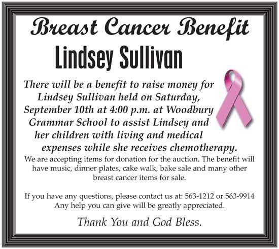 Benefit For Lindsey Sullivan Sept. 10