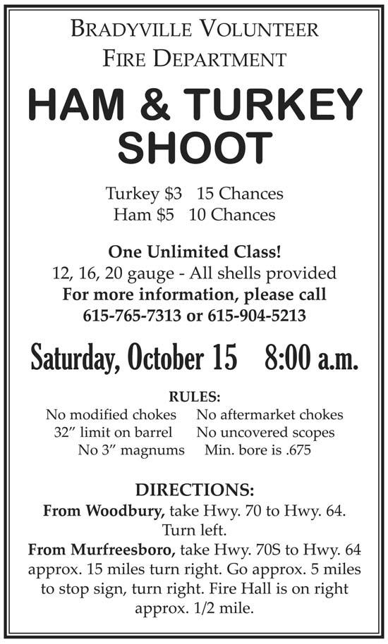 Ham & Turkey Shoot Oct. 15