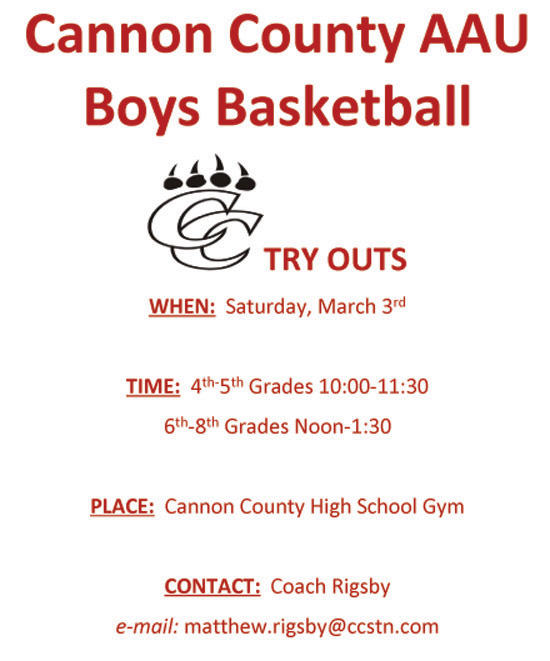 Cannon Co. Boys AAU Basketball Tryouts Saturday