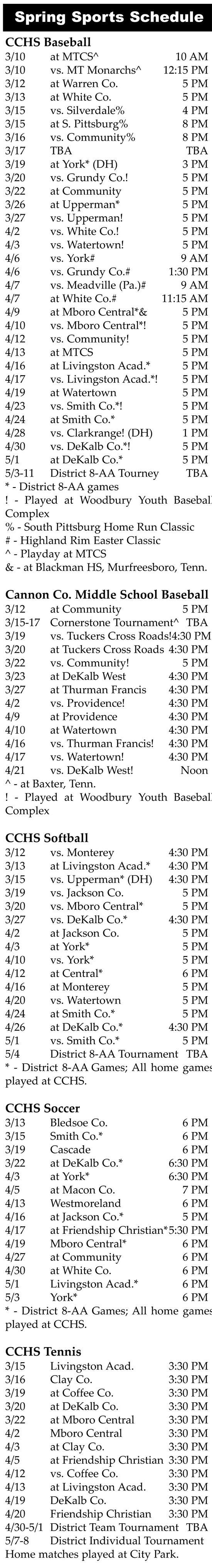 2012 Spring Sports Schedules