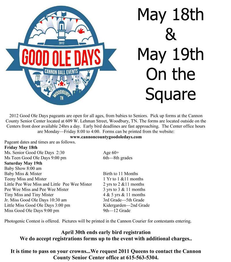 Early Bird Deadline For Good Ole Days Pageants Nears