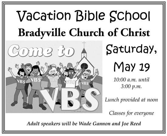 May 19: VBS @ Bradyville CoC