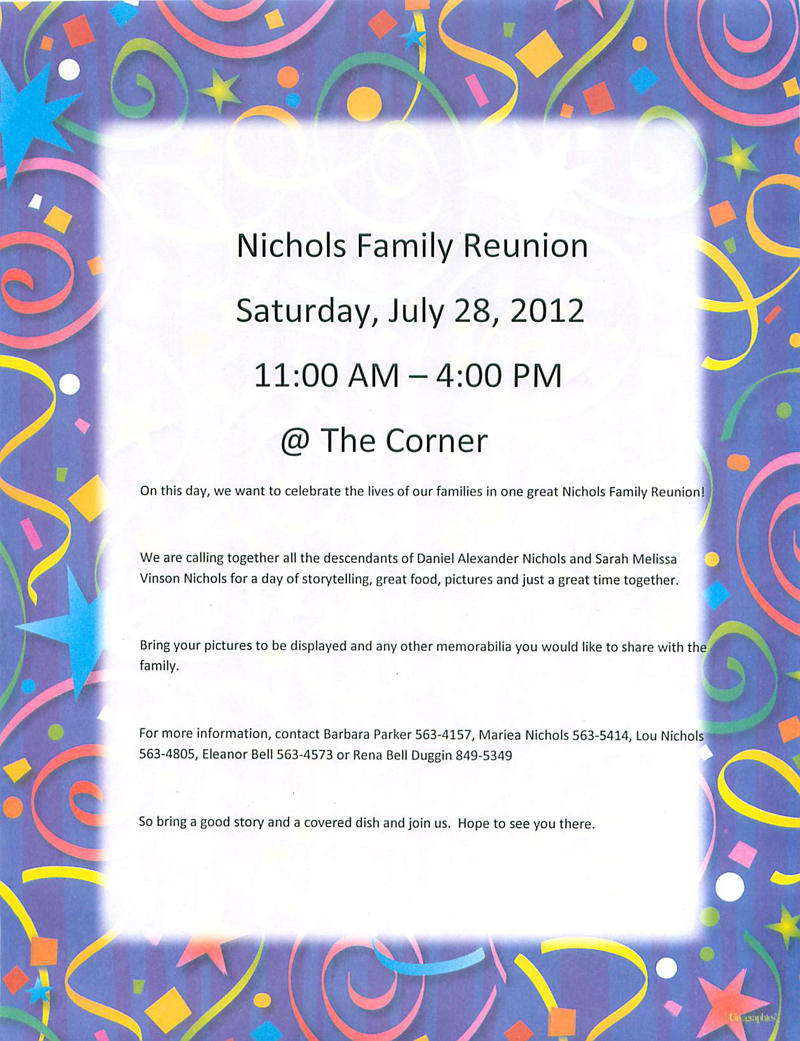 July 28: 2012 Nichols Family Reunion
