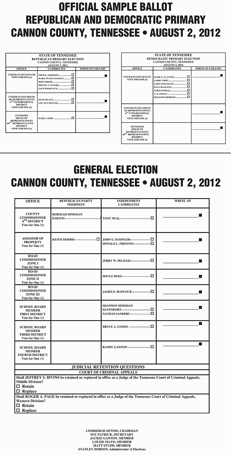 Sample Ballot For Aug. 2 Election