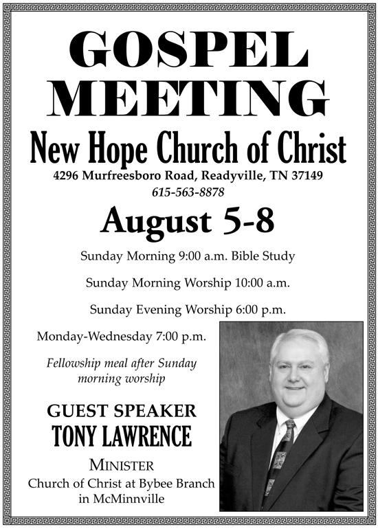Aug. 7: Gospel Meeting @ New Hope CoC