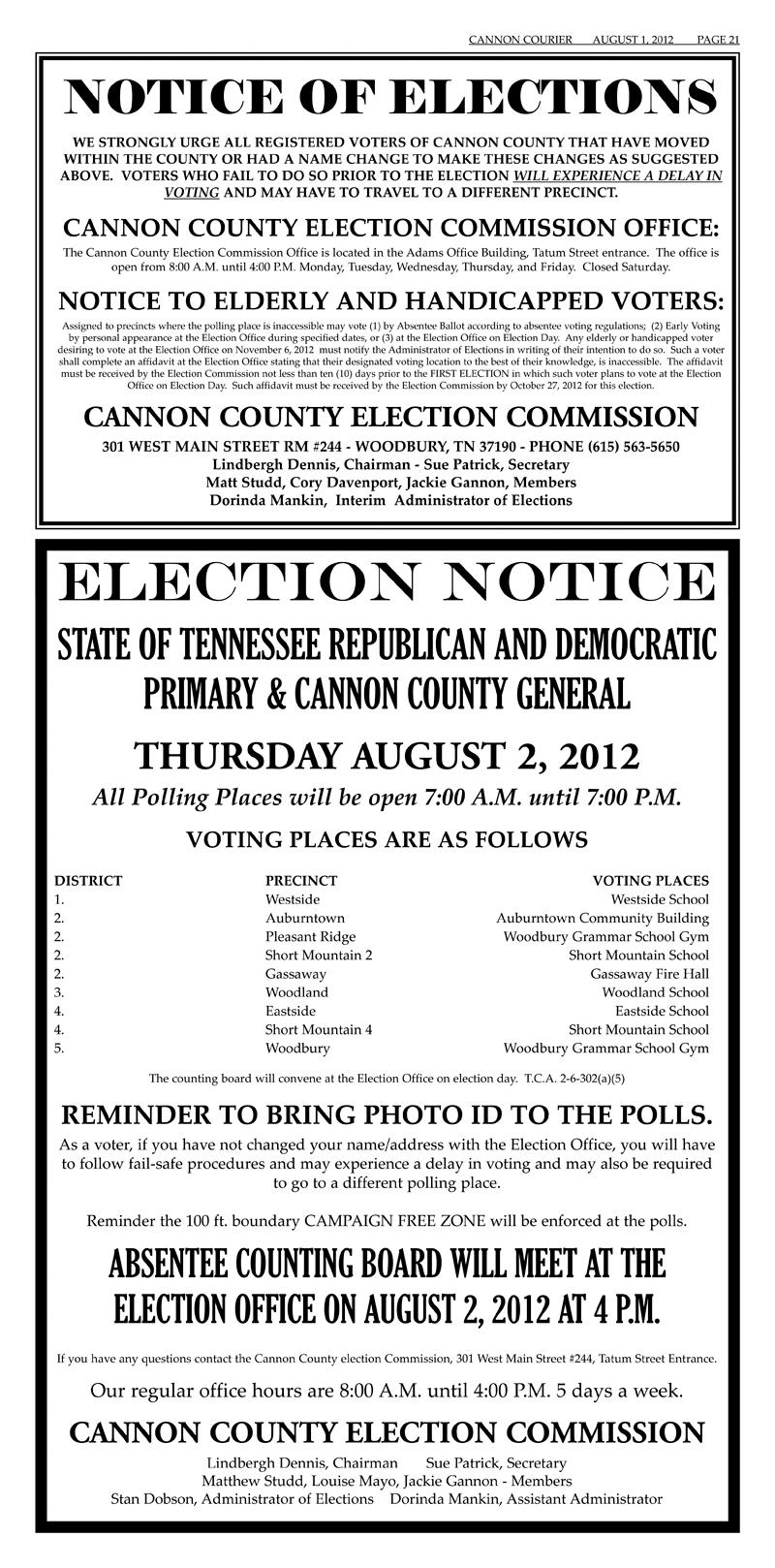 Notices Of Aug. 2, Nov. 6 Elections