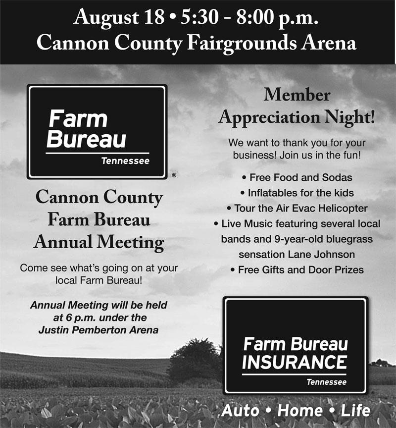 Aug. 18: Cannon Co. Farm Bureau Annual Meeting