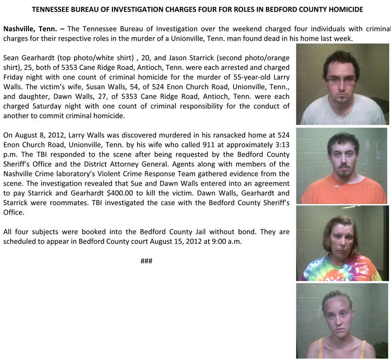 TBI Charges Four In Bedford County Murder