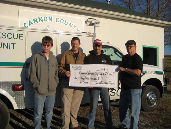 MTE Customers Care Donates $7,500 To Cannon County Rescue Squad