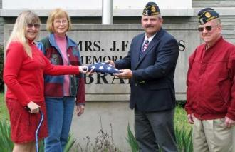 Legion Presents Flag To Library