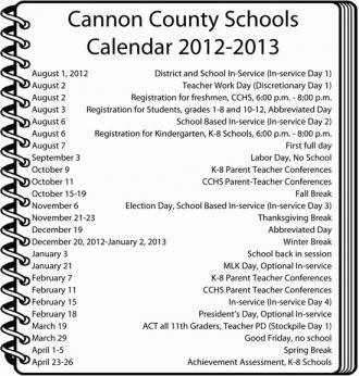 2012-2013 Cannon County Schools Calendar