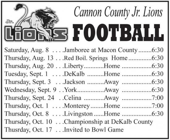 Cannon County Jr. Lions Football
