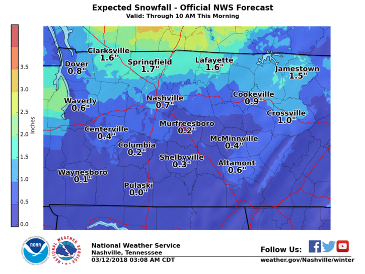 Snow to end mid-morning, then skies to clear