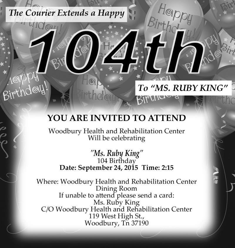 Ruby King to turn 104