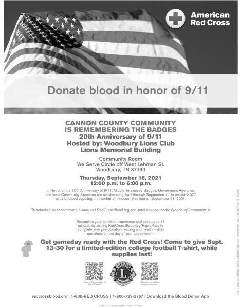 Woodbury Lions Club Hosting Red Cross Blood Drive Today