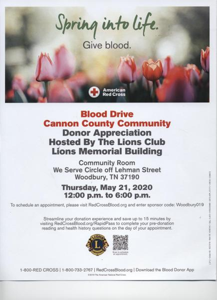 Blood Donor Appreciation Event Thursday Noon to 6
