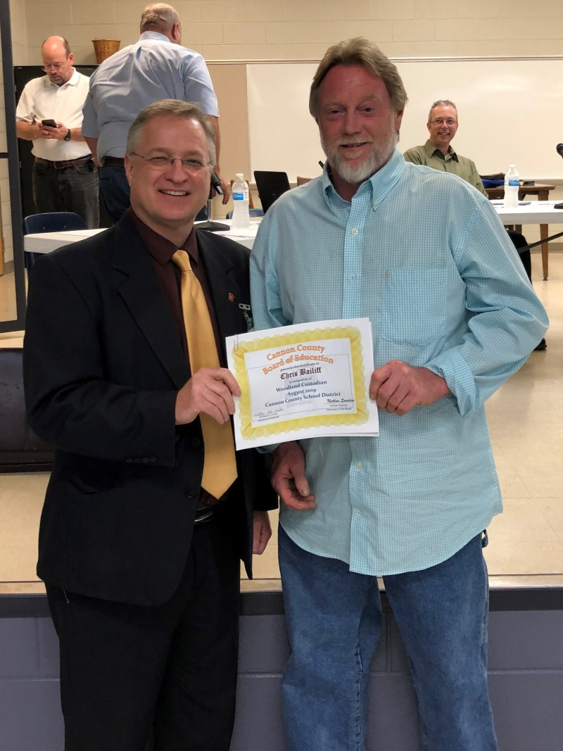 Chris Bailiff named Cannon County Schools Employee of the Month - August 2019