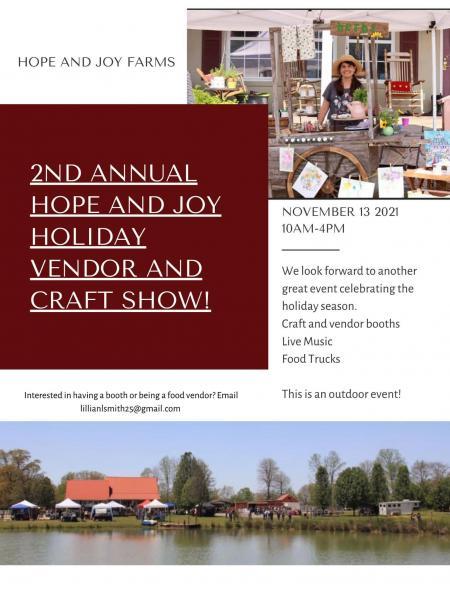 Hope and Joy Farms Hosts Crafts Show November 13th