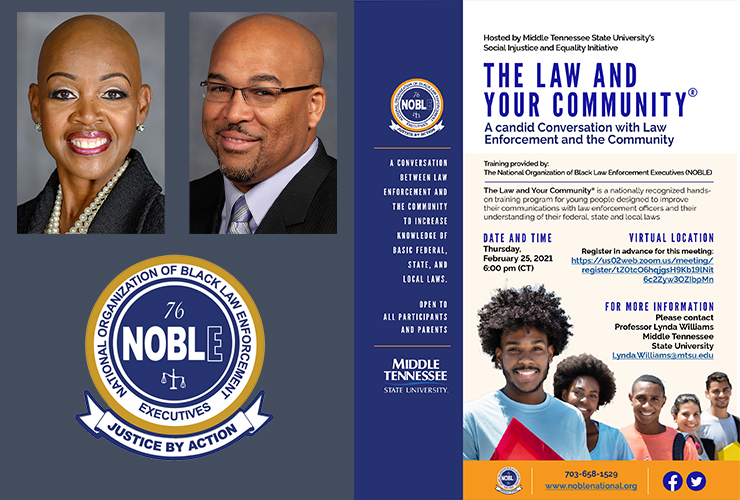 MTSU hosting 'The Law and Your Community' virtual discussion Feb 25th