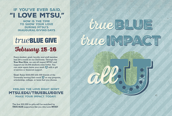 MTSU sets $250K 'True Blue Give' goal for Feb. 15-16 online push
