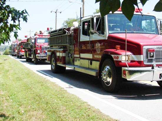 Fire Trucks On Parade During Red Apple Days