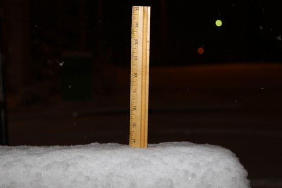 Nearly Four Inches Of Snow; Travel Difficult