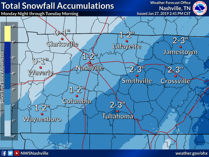 1 to 3 inches of snow possible tonight, early Tuesday