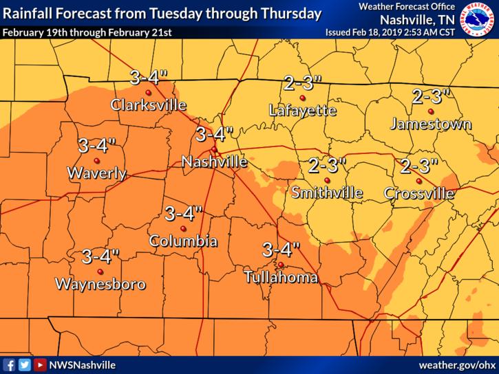 Heavy rain expected Tuesday through Thursday